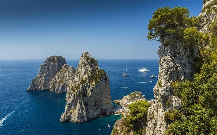Scarica Sfondi Mediterraneo Mare Roccia Costa Capri Italia