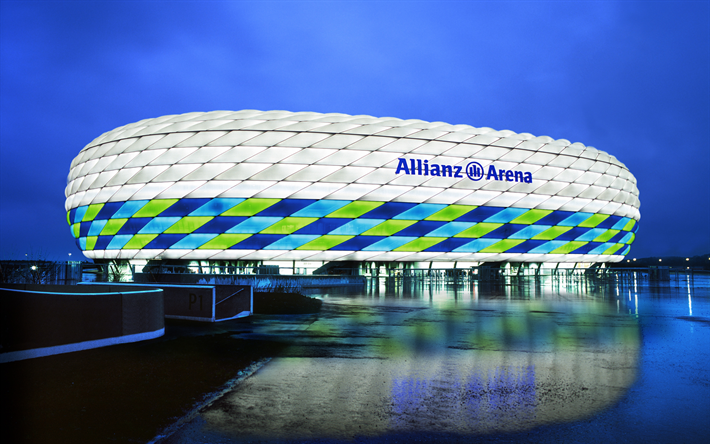 Allianz Arena K Football Stadium Munich Germany Sports Facilities Evening