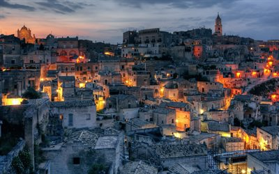 Matera, Basilicata, city in the rock, old town, UNESCO, Italy