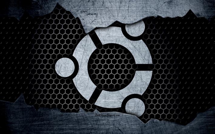 download wallpapers ubuntu  linux  4k  logo  metal