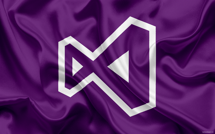 Visual Studio Logo Emblem Purple Silk VS Programming IDE