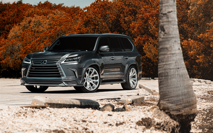 Download Wallpapers Lexus LX570, Gray LX, 2017, Luxury SUV
