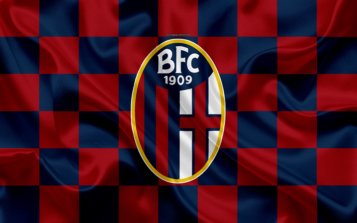 Download Wallpapers Bologna Fc 4k Logo Creative Art Blue Red Checkered Flag An Italian Football Club Emblem Silky Texture Serie A Bologna Italy For Desktop Free Pictures For Desktop Free