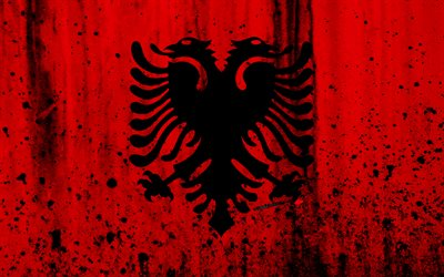 Albanian flag, 4k, grunge, flag of Albania, Europe, Albania, national symbolism, coat of arms of Albania, Albanian coat of arms