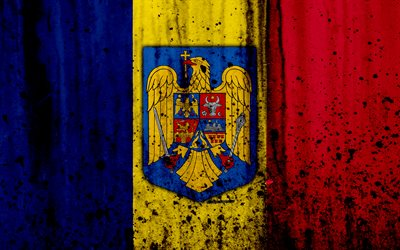 Romanian flag, 4k, grunge, flag of Romania, Europe, Romania, national symbolism, coat of arms of Romania, Romanian coat of arms