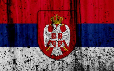 Serbian flag, 4k, grunge, flag of Serbia, Europe, Serbia, national symbolism, coat of arms of Serbia, Serbian coat of arms