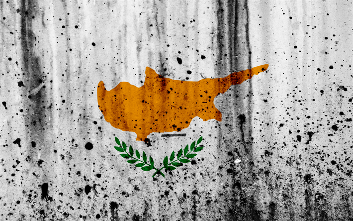 Cypriot flag, 4k, grunge, flag of Cyprus, Europe, Cyprus, national symbolism, coat of arms of Cyprus, Cypriot coat of arms