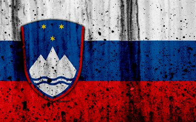 Slovenian flag, 4k, grunge, flag of Slovenia, Europe, Slovenia, national symbolism, coat of arms of Slovenia, Slovenian coat of arms