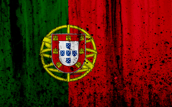 Portuguese flag, 4k, grunge, flag of Portugal, Europe, national symbols, Portugal, coat of arms of Portugal, Portuguese coat of arms