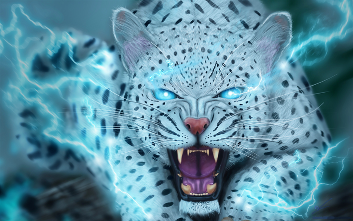 Download Wallpapers Snow Leopard 3d Art Lightning Uncia Uncia Predators For Desktop Free Pictures For Desktop Free