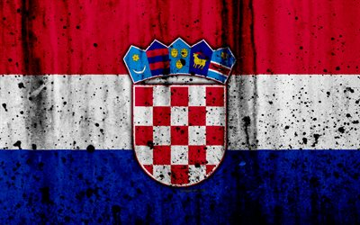 Croatian flag, 4k, grunge, flag of Croatia, Europe, Croatia, national symbolism, coat of arms of Croatia, Croatian coat of arms