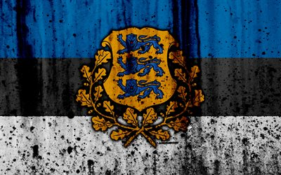 Estonian flag, 4k, grunge, flag of Estonia, Europe, Estonia, national symbolism, coat of arms of Estonia, Estonian coat of arms