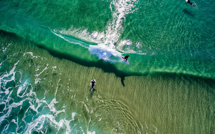Download Wallpapers Surfing Waves Ocean Extreme Sport
