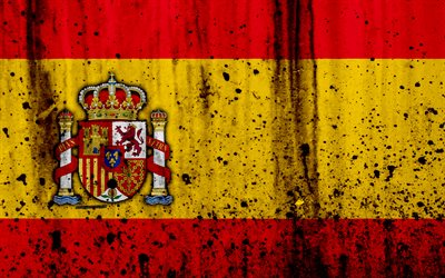 Spanish flag, 4k, grunge, flag of Spain, Europe, Spain, national symbolism, coat of arms of Spain, Spanish coat of arms