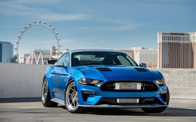 Ford Mustang GT, 2018, blue sports coupe, tuning Mustang, new blue mustang, american sports cars, Bojix Design, SEMA 2018, Ford