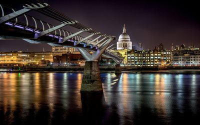 Millennium Bridge, night, London Millenium Footbridge, River Thames, english landmarks, London, England, UK