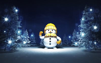 3d snowman, Christmas, New Year, night, winter, snow, snowmen, forest