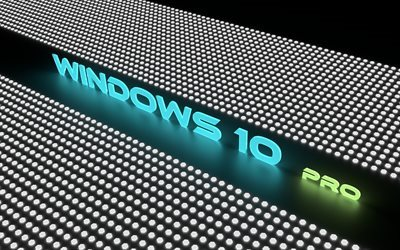 Windows 10 Pro, logo, neon Windows 10