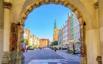 Old town, Dluga street, square, arch, Gdansk, Poland