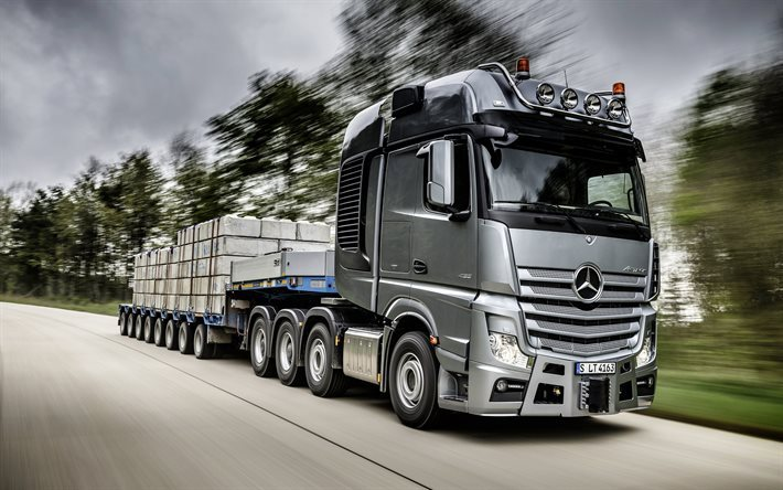 Mercedes-Benz Actros, 2016, speed, road, movement, tractor, trail