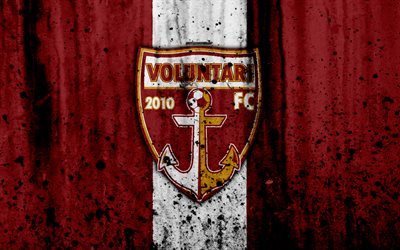 4k, FC Voluntari, grunge, Romanian league, Liga I, soccer, football club, Romania, Voluntari, logo, stone texture, Voluntari FC