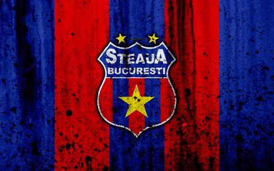 4k, FC Steaua Bukarest, grunge, Romanian league, Liga -, jalkapallo, football club, Romania, Steaua Bukarest, logo, kivi rakenne, Steaua Bukarest FC