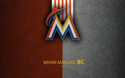 Miami Marlins, 4K, Amerikkalainen baseball club, National League, nahka rakenne, logo, MLB, Miami, Florida, USA, Major League Baseball, tunnus