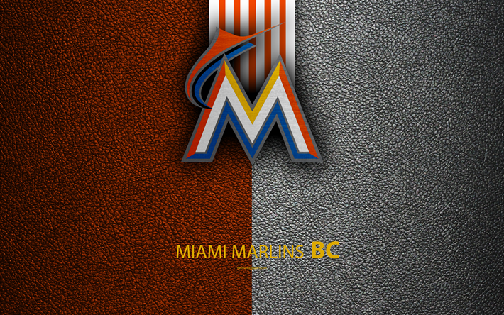 Miami Marlins 4K American Baseball Club National League Leather Texture Logo