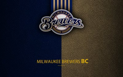 Milwaukee Brewers, 4K, Amerikkalainen baseball club, nahka rakenne, logo, MLB, Milwaukee, Wisconsin, USA, Major League Baseball, tunnus