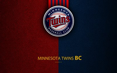 Minnesota Twins, 4k, Amerikkalainen baseball club, nahka rakenne, logo, MLB, Minnesota, USA, Major League Baseball, tunnus