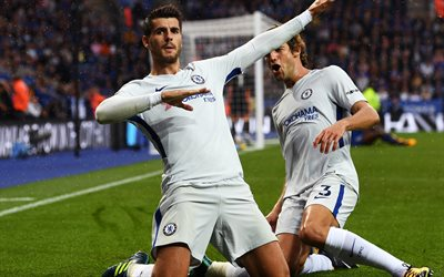 Alvaro Morata, Spanish footballer, Chelsea, London, Premier League, football, 4k