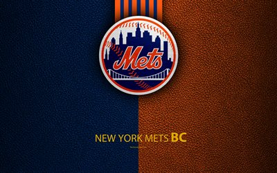 New York Mets, 4K, American baseball club, leather texture, logo, MLB, New York, USA, Major League Baseball, emblem