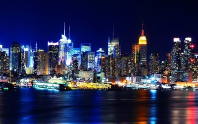 New York, 4k, şehir, nightscapes, iskele, metropolis, NY, USA, Amerika