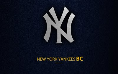 New York Yankees, 4K, American baseball club, American League, Eastern Division, leather texture, logo, MLB, New York, USA, Major League Baseball, emblem