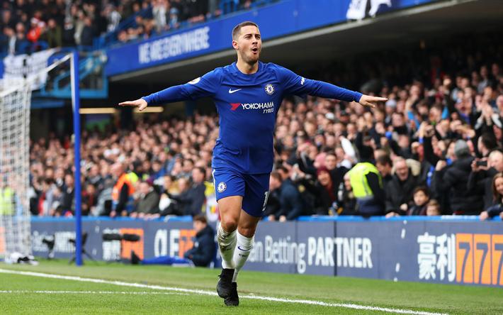 Download Wallpapers Eden Hazard 4k Football Goal Chelsea