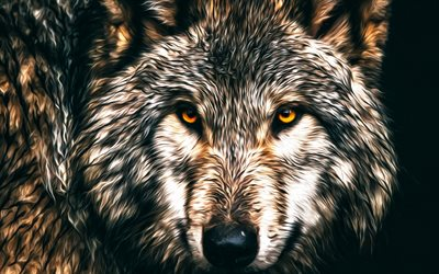 wolf, predator, art, painted wolf, forest animals, wild animals