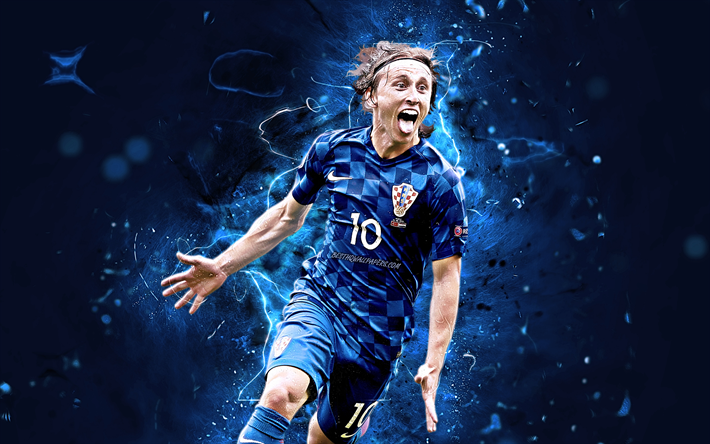 best service 1cd39 38314 Download wallpapers Luka Modric, blue uniform, Croatia ...