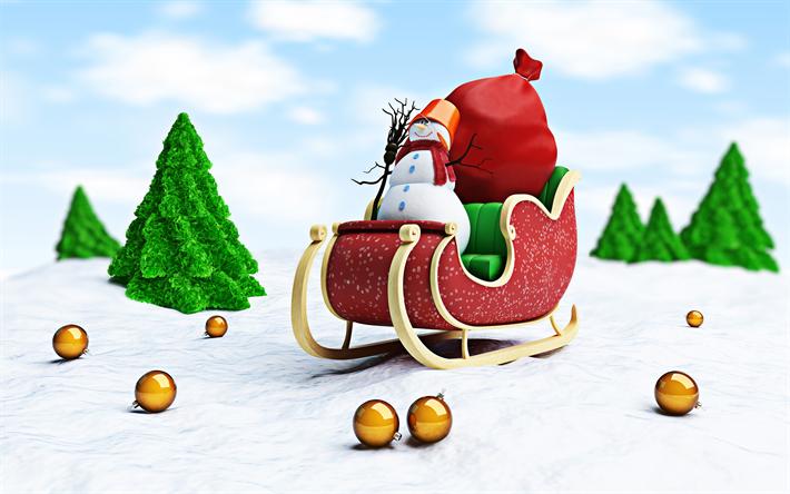Buon Natale 3d.Scarica Sfondi 4k Buon Natale 3d Arte Pupazzo Di Neve Invernali