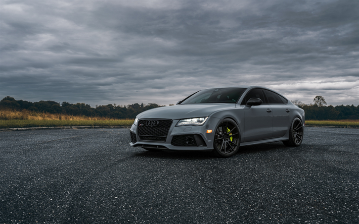 Download Wallpapers Audi Rs7 2018 Front View Gray Matt
