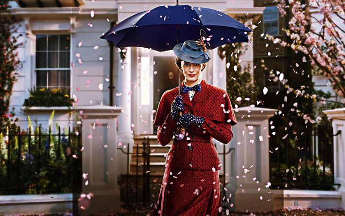 Mary Poppins Returns, 2018, 4k, poster, promotional materials, main character, Emily Blunt