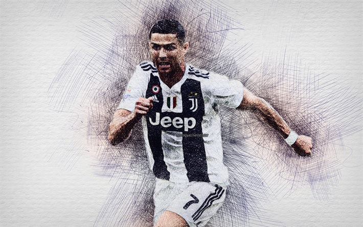 Cristiano Ronaldo, computer drawing, Juve, football stars, Juventus FC, striker, neon lights, Serie A, Ronaldo, CR7, drawing Cristiano Ronaldo, portuguese footballers, CR7 Juve, soccer, Bianconeri, creative