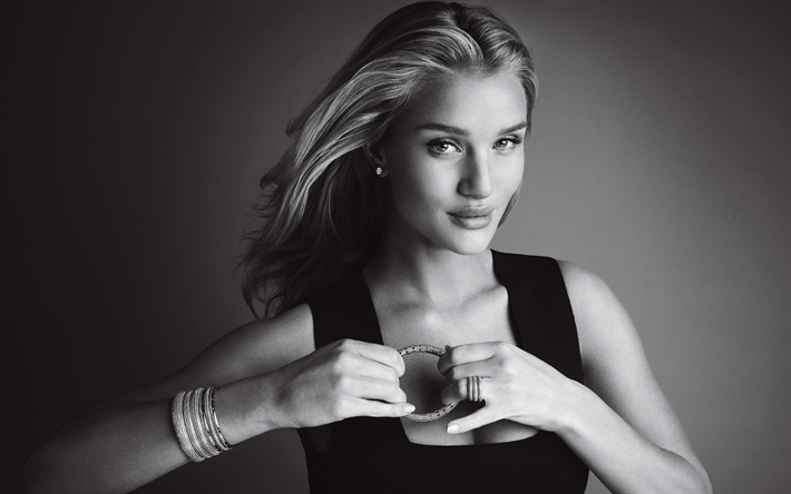 Rosie Huntington-Whiteley, photoshoot, monochrome, British supermodel, portrait, black dress