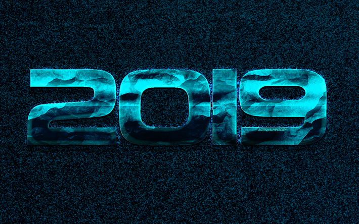 2019 year, creative blue background, 2019 concepts, Happy New Year, metallic blue numbers, 2019 blue background, neon light, 2019 design