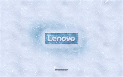 Lenovo logo, winter concepts, snowy texture, snow background, Lenovo emblem, winter art, Lenovo