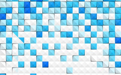Blue mosaic abstraction, Blue abstraction background, mosaic texture, creative blue mosaic background, 3d mosaic texture