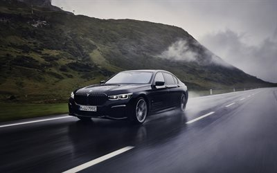 BMW 7, 2020, G12, 745Le xDrive, front view, black sedan, new black BMW 7, wet driving, riding in the rain concepts, BMW