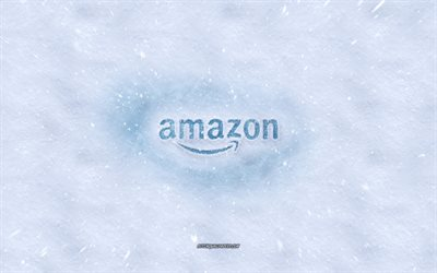 Amazon logo, winter concepts, snow texture, snow background, Amazon emblem, winter art, Amazon