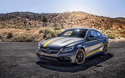 4k, Mercedes-Benz Classe C Coupé PD65CC, supercars, HDR, voitures 2017, C205, Prior Design, tuning, Mercedes-Benz Classe C, voitures allemandes, Mercedes