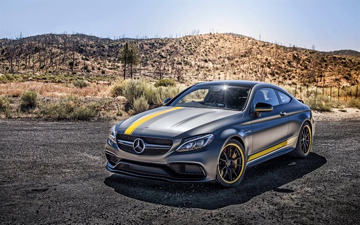 4k, Mercedes-Benz C-Class Coupe PD65CC, supercars, HDR, 2017 cars, C205, Prior Design, tuning, Mercedes-Benz C-Class, german cars, Mercedes