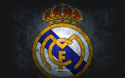 Real Madrid, club de football espagnol, fond de pierre grise, logo du Real Madrid, art grunge, La Liga, football, Espagne, emblème du Real Madrid